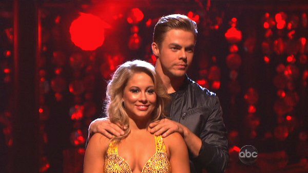 Olympic gymnast Shawn Johnson and her partner Derek Hough await their fate on 'Dancing With The Stars: The Results Show' on Tuesday, September 25.
