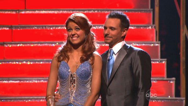 Former member of the boy band 98 Degrees, Drew Lachey and his partner Anna Trebunskaya await their fate on &#39;Dancing With The Stars: The Results Show&#39; on Tuesday, September 25. The pair received 21.5 out of 30 points from the judges for their Fox Trot on the season premiere of &#39;Dancing With The Stars: All-Stars,&#39; which aired on September 24, 2012.  <span class=meta>(ABC Photo)</span>