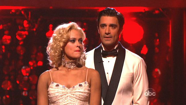 French actor Gilles Marini and his partner Peta Murgatroyd await their fate on &#39;Dancing With The Stars: The Results Show&#39; on Tuesday, September 25. The pair received 24 out of 30 points from the judges for their Fox Trot on the season premiere of &#39;Dancing With The Stars: All-Stars,&#39; which aired on September 24, 2012.  <span class=meta>(ABC Photo)</span>