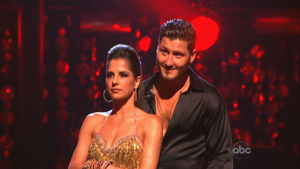 "<div class=""meta ""><span class=""caption-text "">'General Hospital' actress Kelly Monaco and her partner Valentin Chmerkovskiy await their fate on 'Dancing With The Stars: The Results Show' on Tuesday, September 25. The pair received 21.5 out of 30 points from the judges for their Cha Cha Cha on the season premiere of 'Dancing With The Stars: All-Stars,' which aired on September 24, 2012.  (ABC Photo)</span></div>"