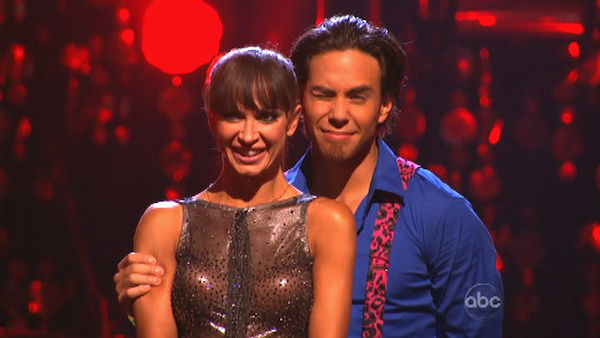 Olympic speed skater Apolo Anton Ohno and his partner Karina Smirnoff await their fate on 'Dancing With The Stars: The Results Show' on Tuesday, September 25.