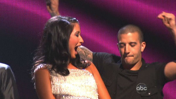 Reality star Bristol Palin and her partner Mark Ballas react to being safe from elimination. The couple received 19.5 out of 30 points from the judges for their Cha Cha Cha on the season premiere of &#39;Dancing With The Stars: All-Stars,&#39; which aired on September 24, 2012.  <span class=meta>(ABC Photo)</span>