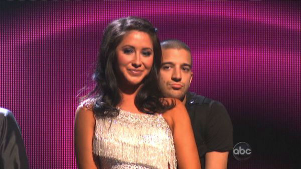 "<div class=""meta ""><span class=""caption-text "">Reality star Bristol Palin and her partner Mark Ballas await their fate on 'Dancing With The Stars: The Results Show' on Tuesday, September 25. The pair received 19.5 out of 30 points from the judges for their Cha Cha Cha on the season premiere of 'Dancing With The Stars: All-Stars,' which aired on September 24, 2012.  (ABC Photo)</span></div>"