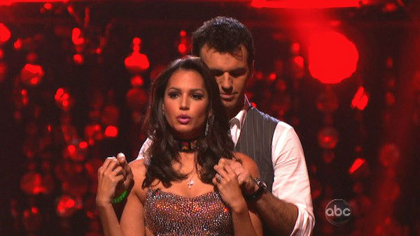 Reality star Melissa Rycroft and her partner Tony Dovolani await their fate on 'Dancing With The Stars: The Results Show' on Tuesday, September 25.