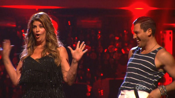 Actress Kirstie Alley and her partner Maksim Chmerkovskiy react to being safe from elimination. The pair received 21 out of 30 points from the judges for their Jive on week two of &#39;Dancing With The Stars: All-Stars,&#39; which aired on Oct. 1, 2012.  <span class=meta>(ABC Photo)</span>