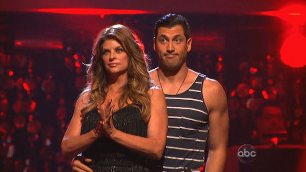 "<div class=""meta ""><span class=""caption-text "">Actress Kirstie Alley and her partner Maksim Chmerkovskiy await their fate on 'Dancing With The Stars: The Results Show' on Tuesday, Oct. 2, 2012. The pair received 21 out of 30 points from the judges for their Jive on week two of 'Dancing With The Stars: All-Stars,' which aired on Oct. 1, 2012.  (ABC Photo)</span></div>"