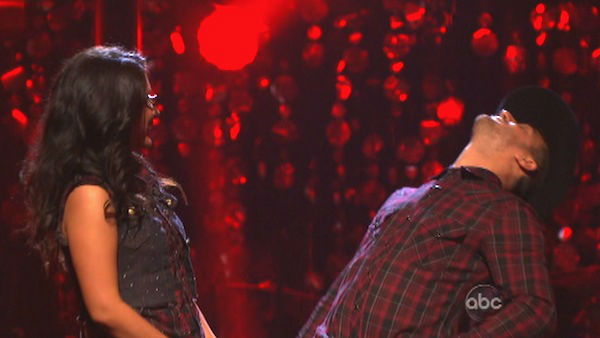 Reality star Bristol Palin and her partner Mark Ballas react to being safe from elimination. The pair received 18 out of 30 points from the judges for their Quickstep on week two of &#39;Dancing With The Stars: All-Stars,&#39; which aired on Oct. 1, 2012. <span class=meta>(ABC Photo)</span>