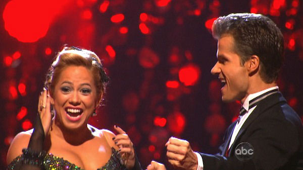 Disney Channel actress Sabrina Bryan and her partner Louis Van Amstel react to being safe from elimination. The pair received 26 out of 30 points from the judges for their Quickstep on week two of &#39;Dancing With The Stars: All-Stars,&#39; which aired on Oct. 1, 2012. <span class=meta>(ABC Photo)</span>