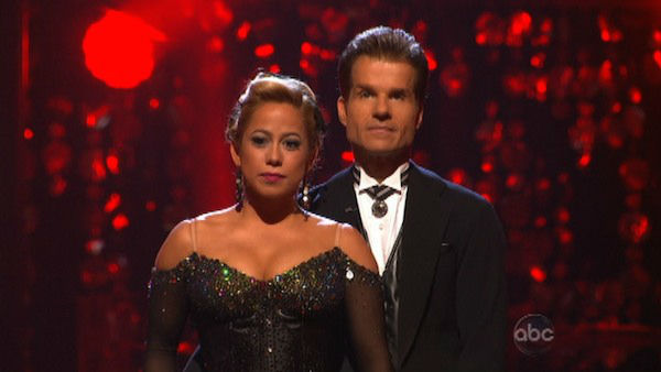 Disney Channel actress Sabrina Bryan and her partner Louis Van Amstel await their fate on &#39;Dancing With The Stars: The Results Show&#39; on Tuesday, Oct. 2, 2012. The pair received 26 out of 30 points from the judges for their Quickstep on week two of &#39;Dancing With The Stars: All-Stars,&#39; which aired on Oct. 1, 2012. <span class=meta>(ABC Photo)</span>