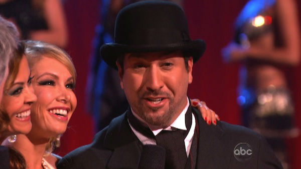 "<div class=""meta image-caption""><div class=""origin-logo origin-image ""><span></span></div><span class=""caption-text"">Former member of the boy band 'N Sync, Joey Fatone and his partner Kym Johnson react to being eliminated. The pair received 22.5 out of 30 points from the judges for their Quickstep on week two of 'Dancing With The Stars: All-Stars,' which aired on Oct. 1, 2012.  (ABC Photo)</span></div>"