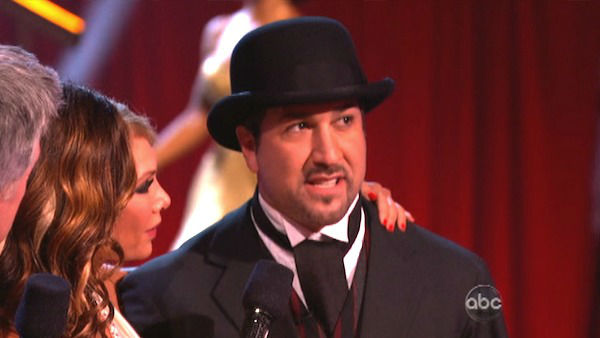 "<div class=""meta ""><span class=""caption-text "">Former member of the boy band 'N Sync, Joey Fatone and his partner Kym Johnson react to being eliminated. The pair received 22.5 out of 30 points from the judges for their Quickstep on week two of 'Dancing With The Stars: All-Stars,' which aired on Oct. 1, 2012.  (ABC Photo)</span></div>"