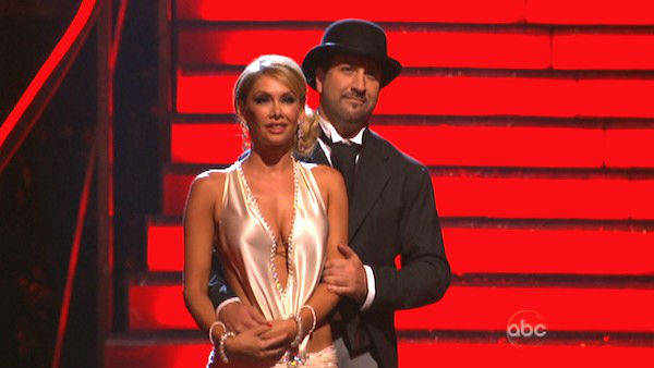Former member of the boy band 'N Sync, Joey Fatone and his partner Kym Johnson await their fate on 'Dancing With The Stars: The Results Show' on Tuesday, Oct. 2, 2012.