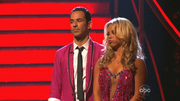 Brazilian auto racing driver Helio Castroneves and his partner Chelsie Hightower await their fate on &#39;Dancing With The Stars: The Results Show&#39; on Tuesday, Oct. 2, 2012. The pair received 23 out of 30 points from the judges for their Jive on week two of &#39;Dancing With The Stars: All-Stars,&#39; which aired on Oct. 1, 2012. <span class=meta>(ABC Photo)</span>