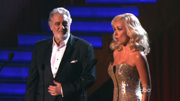 Katherine Jenkins, who competed on the show last season and finished in second place, returned to the ballroom as a musical guest on &#39;Dancing With The Stars: The Results Show&#39; on Tuesday, Oct. 2, 2012. She sang with Placido Domingo. The two sang &#39;Come What May.&#39; Their duet was accompanied by pro dancers Valentin Chmerkovskiy and Anna Trebunskaya. <span class=meta>(ABC Photo)</span>