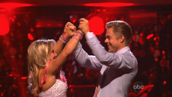 "<div class=""meta image-caption""><div class=""origin-logo origin-image ""><span></span></div><span class=""caption-text"">Olympic gymnast Shawn Johnson and her partner Derek Hough react to being safe from elimination. The pair received 25 out of 30 points from the judges for their Jive on week two of 'Dancing With The Stars: All-Stars,' which aired on Oct. 1, 2012. (ABC Photo)</span></div>"