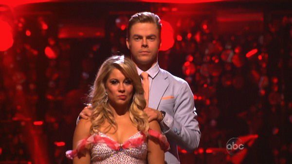 "<div class=""meta ""><span class=""caption-text "">Olympic gymnast Shawn Johnson and her partner Derek Hough await their fate on 'Dancing With The Stars: The Results Show' on Tuesday, Oct. 2, 2012. The pair received 25 out of 30 points from the judges for their Jive on week two of 'Dancing With The Stars: All-Stars,' which aired on Oct. 1, 2012. (ABC Photo)</span></div>"