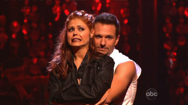 "<div class=""meta image-caption""><div class=""origin-logo origin-image ""><span></span></div><span class=""caption-text"">Former member of the boy band 98 Degrees, Drew Lachey and his partner Anna Trebunskaya await their fate on 'Dancing With The Stars: The Results Show' on Tuesday, Oct. 2, 2012. The pair received 22.5 out of 30 points from the judges for their Jive on week two of 'Dancing With The Stars: All-Stars,' which aired on Oct. 1, 2012. (ABC Photo)</span></div>"