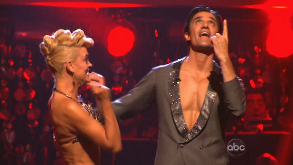 French actor Gilles Marini and his partner Peta Murgatroyd await their fate react to being safe from elimination. The pair received 25.5 out of 30 points from the judges for their Jive on week two of &#39;Dancing With The Stars: All-Stars,&#39; which aired on Oct. 1, 2012. <span class=meta>(ABC Photo)</span>