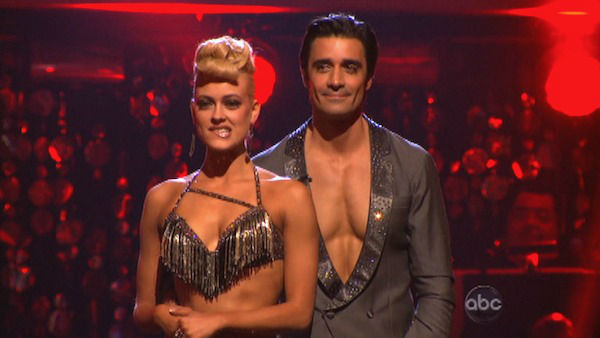 French actor Gilles Marini and his partner Peta Murgatroyd await their fate on &#39;Dancing With The Stars: The Results Show&#39; on Tuesday, Oct. 2, 2012. The pair received 25.5 out of 30 points from the judges for their Jive on week two of &#39;Dancing With The Stars: All-Stars,&#39; which aired on Oct. 1, 2012. <span class=meta>(ABC Photo)</span>