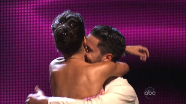 &#39;General Hospital&#39; actress Kelly Monaco and her partner Valentin Chmerkovskiy react to being safe from elimination. The pair received 22 out of 30 points from the judges for their Quickstep on week two of &#39;Dancing With The Stars: All-Stars,&#39; which aired on Oct. 1, 2012. <span class=meta>(ABC Photo)</span>