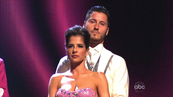 &#39;General Hospital&#39; actress Kelly Monaco and her partner Valentin Chmerkovskiy await their fate on &#39;Dancing With The Stars: The Results Show&#39; on Tuesday, Oct. 2, 2012. The pair received 22 out of 30 points from the judges for their Quickstep on week two of &#39;Dancing With The Stars: All-Stars,&#39; which aired on Oct. 1, 2012. <span class=meta>(ABC Photo)</span>