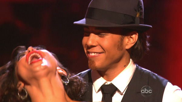 "<div class=""meta ""><span class=""caption-text "">Olympic speed skater Apolo Anton Ohno and his partner Karina Smirnoff react to being safe from elimination. The pair received 24.5 out of 30 points from the judges for their Quickstep on week two of 'Dancing With The Stars: All-Stars,' which aired on Oct. 1, 2012. (ABC Photo)</span></div>"