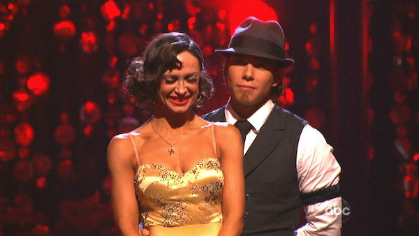"<div class=""meta image-caption""><div class=""origin-logo origin-image ""><span></span></div><span class=""caption-text"">Olympic speed skater Apolo Anton Ohno and his partner Karina Smirnoff await their fate on 'Dancing With The Stars: The Results Show' on Tuesday, Oct. 2, 2012. The pair received 24.5 out of 30 points from the judges for their Quickstep on week two of 'Dancing With The Stars: All-Stars,' which aired on Oct. 1, 2012. (ABC Photo)</span></div>"