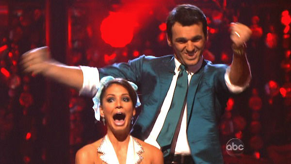 Reality star Melissa Rycroft and her partner Tony Dovolani react to being safe from elimination. The pair received 23.5 out of 30 points from the judges for their Jive on week two of &#39;Dancing With The Stars: All-Stars,&#39; which aired on Oct. 1, 2012. <span class=meta>(ABC Photo)</span>