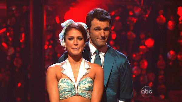 Reality star Melissa Rycroft and her partner Tony Dovolani await their fate on 'Dancing With The Stars: The Results Show' on Tuesday, Oct. 2, 2012.