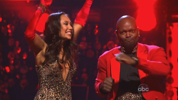 Retired NFL star Emmitt Smith and his partner Cheryl Burke react to being safe from elimination. The pair received 22.5 out of 30 points from the judges for their Quickstep on week two of &#39;Dancing With The Stars: All-Stars,&#39; which aired on Oct. 1, 2012.  <span class=meta>(ABC Photo)</span>