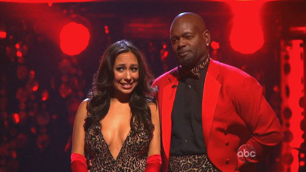 Retired NFL star Emmitt Smith and his partner Cheryl Burke await their fate on &#39;Dancing With The Stars: The Results Show&#39; on Tuesday, Oct. 2, 2012. The pair received 22.5 out of 30 points from the judges for their Quickstep on week two of &#39;Dancing With The Stars: All-Stars,&#39; which aired on Oct. 1, 2012.  <span class=meta>(ABC Photo)</span>