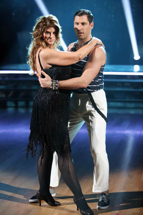 Actress Kirstie Alley and her partner Maksim Chmerkovskiy await their fate on 'Dancing With The Stars: The Results Show' on Tuesday, Oct. 2, 2012.