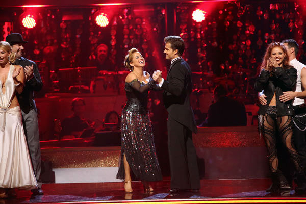 "<div class=""meta image-caption""><div class=""origin-logo origin-image ""><span></span></div><span class=""caption-text"">Disney Channel actress Sabrina Bryan and her partner Louis Van Amstel react to being safe from elimination. The pair received 26 out of 30 points from the judges for their Quickstep on week two of 'Dancing With The Stars: All-Stars,' which aired on Oct. 1, 2012. (ABC Photo/ Adam Taylor)</span></div>"