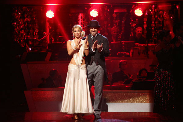 "<div class=""meta ""><span class=""caption-text "">Former member of the boy band 'N Sync, Joey Fatone and his partner Kym Johnson react to being eliminated. The pair received 22.5 out of 30 points from the judges for their Quickstep on week two of 'Dancing With The Stars: All-Stars,' which aired on Oct. 1, 2012.   (ABC Photo/ Adam Taylor)</span></div>"