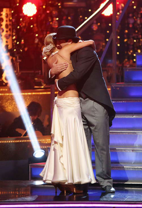 Joey Fatone and his partner Kym Johnson react to being eliminated from 'Dancing With The Stars' on October 2, 2012.