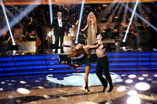 "<div class=""meta image-caption""><div class=""origin-logo origin-image ""><span></span></div><span class=""caption-text"">Katherine Jenkins, who competed on the show last season and finished in second place, returned to the ballroom as a musical guest, performed on 'Dancing With The Stars: The Results Show' on Tuesday, Oct. 2, 2012 with Spanish tenor and conductor Placido Domingo. The two sang 'Come What May.' Their duet was accompanied by pro dancers Valentin Chmerkovskiy and Anna Trebunskaya.  (ABC Photo/ Adam Taylor)</span></div>"