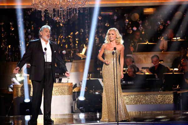 "<div class=""meta ""><span class=""caption-text "">Katherine Jenkins, who competed on the show last season and finished in second place, returned to the ballroom as a musical guest, performed on 'Dancing With The Stars: The Results Show' on Tuesday, Oct. 2, 2012 with Spanish tenor and conductor Placido Domingo. The two sang 'Come What May.' Their duet was accompanied by pro dancers Valentin Chmerkovskiy and Anna Trebunskaya.  (ABC Photo/ Adam Taylor)</span></div>"
