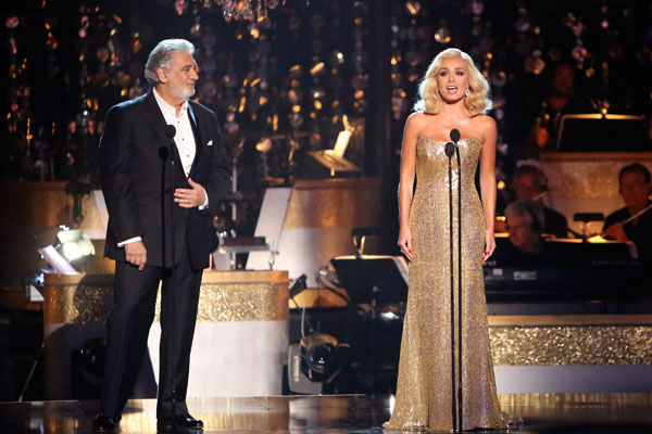Katherine Jenkins, who competed on the show last season and finished in second place, returned to the ballroom as a musical guest, performed on &#39;Dancing With The Stars: The Results Show&#39; on Tuesday, Oct. 2, 2012 with Spanish tenor and conductor Placido Domingo. The two sang &#39;Come What May.&#39; Their duet was accompanied by pro dancers Valentin Chmerkovskiy and Anna Trebunskaya.  <span class=meta>(ABC Photo&#47; Adam Taylor)</span>