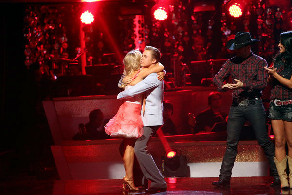 Olympic gymnast Shawn Johnson and her partner Derek Hough react to being safe from elimination. The pair received 25 out of 30 points from the judges for their Jive on week two of &#39;Dancing With The Stars: All-Stars,&#39; which aired on Oct. 1, 2012.  <span class=meta>(ABC Photo&#47; Adam Taylor)</span>