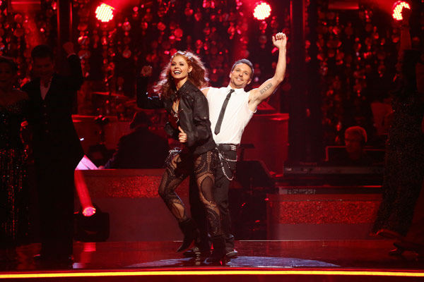 "<div class=""meta ""><span class=""caption-text "">Former member of the boy band 98 Degrees, Drew Lachey and his partner Anna Trebunskaya react to being safe from elimination. The pair received 22.5 out of 30 points from the judges for their Jive on week two of 'Dancing With The Stars: All-Stars,' which aired on Oct. 1, 2012. (ABC Photo/ Adam Taylor)</span></div>"
