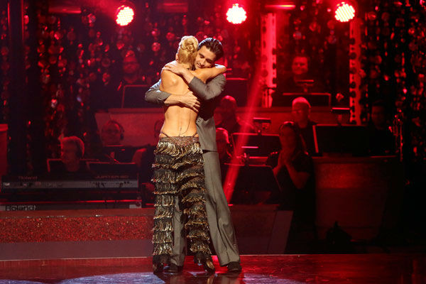 "<div class=""meta image-caption""><div class=""origin-logo origin-image ""><span></span></div><span class=""caption-text""> French actor Gilles Marini and his partner Peta Murgatroyd react to being safe from elimination. The pair received 25.5 out of 30 points from the judges for their Jive on week two of 'Dancing With The Stars: All-Stars,' which aired on Oct. 1, 2012.  (ABC Photo/ Adam Taylor)</span></div>"