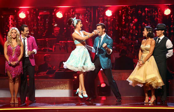 Reality star Melissa Rycroft and her partner Tony Dovolani react to being safe from elimination. The pair received 23.5 out of 30 points from the judges for their Jive on week two of &#39;Dancing With The Stars: All-Stars,&#39; which aired on Oct. 1, 2012. <span class=meta>(ABC Photo&#47; Adam Taylor)</span>