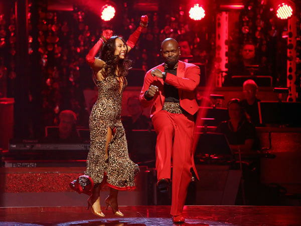 Retired NFL star Emmitt Smith and his partner Cheryl Burke react to being safe from elimination. The pair received 22.5 out of 30 points from the judges for their Quickstep on week two of &#39;Dancing With The Stars: All-Stars,&#39; which aired on Oct. 1, 2012. <span class=meta>(ABC Photo&#47; Adam Taylor)</span>