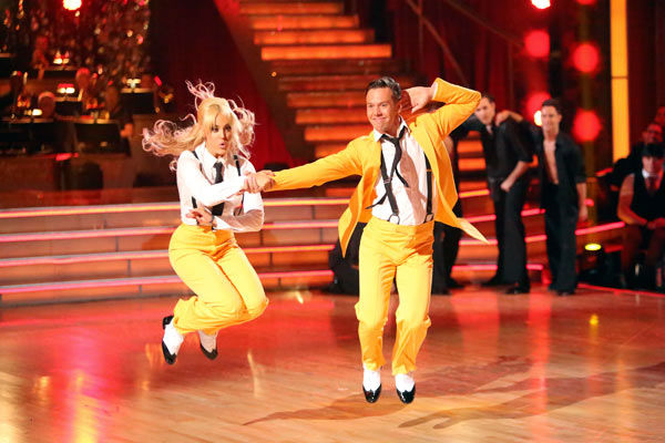 "<div class=""meta image-caption""><div class=""origin-logo origin-image ""><span></span></div><span class=""caption-text"">The Troupe teased week 3's theme of 'Iconic Dance Night' with a medley of iconic routines from seasons past on 'Dancing With The Stars: The Results Show' on Tuesday, Oct. 2, 2012. The dance  featured Anya Garnis, Jaymz Tuaileva, Lacey and Benji Schwimmer. (ABC Photo/ Adam Taylor)</span></div>"