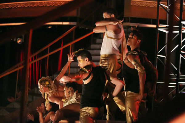 "<div class=""meta image-caption""><div class=""origin-logo origin-image ""><span></span></div><span class=""caption-text"">'Dancing With The Stars: The Results Show' on Tuesday, Oct. 2, 2012, included the season's first 'Macy's Stars of Dance' performance, which was choreographed by Shannon Mather. The dance focused on Blake McGrath, Ian Eastwood and Tyne Stecklein who all led their groups in the performance. (ABC Photo/ Adam Taylor)</span></div>"