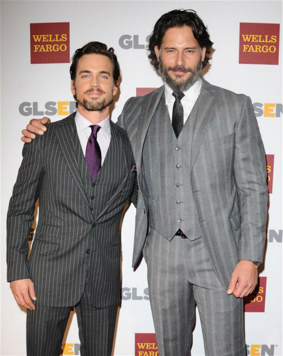 "<div class=""meta ""><span class=""caption-text "">The 'Bomer-Is-Jealous-Of-My-Stare' stare: Joe Manganiello appears with 'Magic Mike' co-star matt Bomer at the 8th annual GLSEN Respect Awards in Beverly Hills, California on Oct. 5, 2012. (Sara De Boer / Startraksphoto.com)</span></div>"