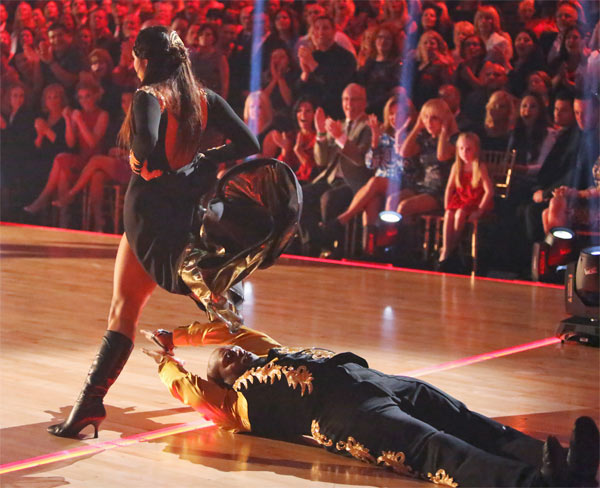 Retired NFL star Emmitt Smith and his partner Cheryl Burke received 25 out of 30 points from the judges for their Paso Doble on &#39;Dancing With The Stars: All-Stars&#39; on Monday, Oct. 8, 2012. <span class=meta>(ABC &#47; Adam Taylor)</span>