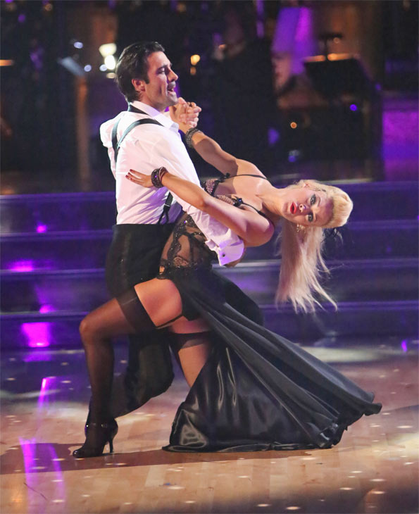 "<div class=""meta image-caption""><div class=""origin-logo origin-image ""><span></span></div><span class=""caption-text"">French actor Gilles Marini and his partner Peta Murgatroyd received 25.5 out of 30 points from the judges for their Tango on 'Dancing With The Stars: All-Stars' on Monday, Oct. 8, 2012. (ABC / Adam Taylor)</span></div>"