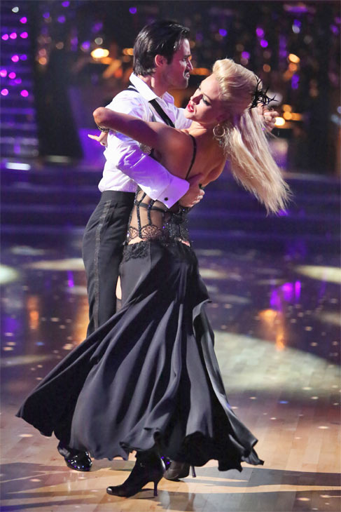 French actor Gilles Marini and his partner Peta Murgatroyd received 25.5 out of 30 points from the judges for their Tango on 'Dancing With The Stars: All-Stars' on Monday, Oct. 8, 2012.