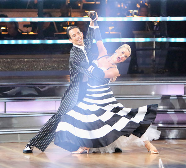 "<div class=""meta image-caption""><div class=""origin-logo origin-image ""><span></span></div><span class=""caption-text"">Brazilian auto racing driver Helio Castroneves and his partner Chelsie Hightower received 25.5 out of 30 points from the judges for their Quickstep on 'Dancing With The Stars: All-Stars' on Monday, Oct. 8, 2012. (ABC / Adam Taylor)</span></div>"